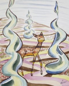 magic deer energy healing painting